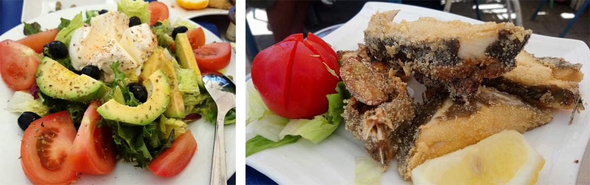Ensalada y pescado frito en Bar La Aurora