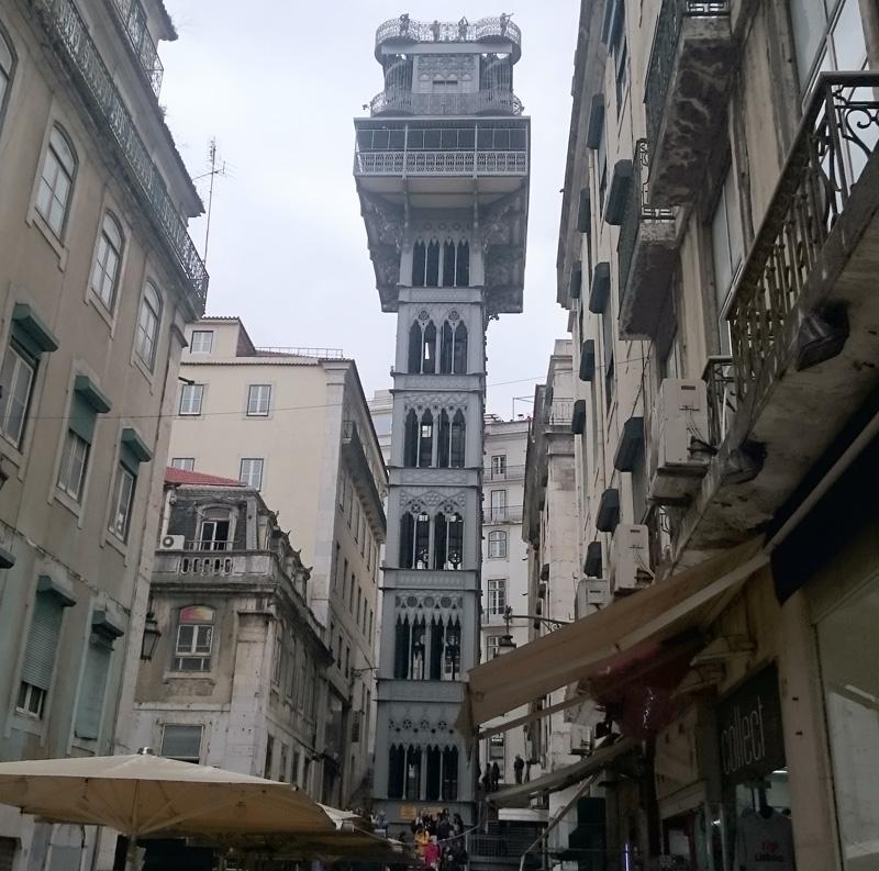 Torre del Mirador de Santa Justa en Lisboa, Portugal