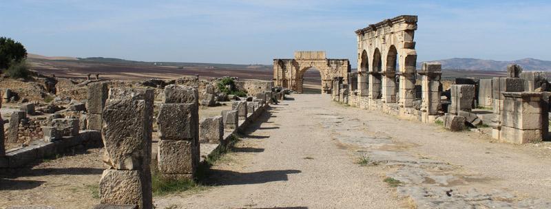 Calzada romana en Volubilis