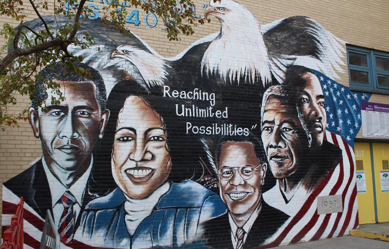 Graffiti en Harlem de Obama, Malcolm X, Mandela...