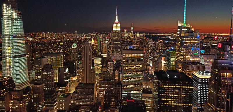 Panorámica Manhattan de noche