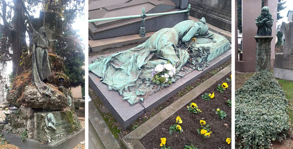 Figuras en el Cementerio Monumental de Milán